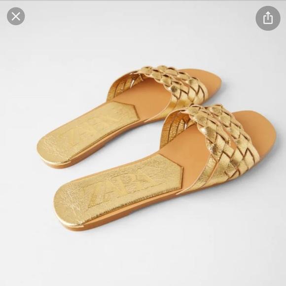 Zara gold metallic braided leather sandals 9